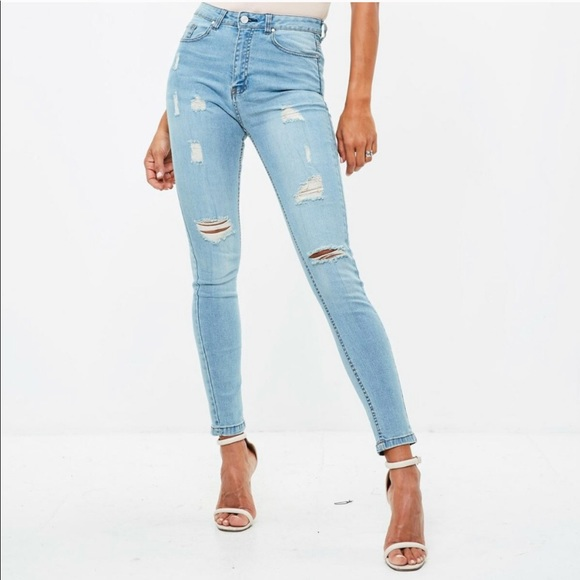Missguided Denim - Misguided blue high rise sinner jeans